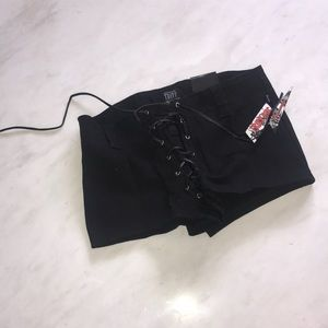 Tripp NYC black lace-up shorts